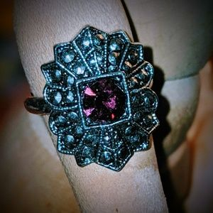 💜 Purple 💍Gemstone Antiqued Ring